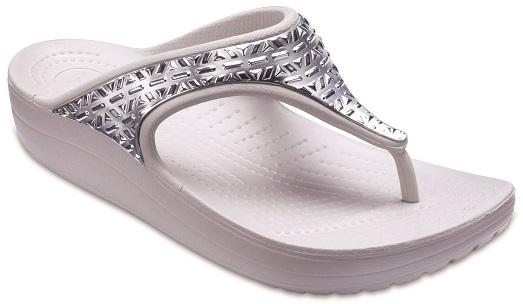 crocs sloane graphic etched metallic flip w