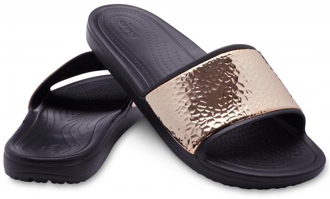 crocs sloane hammered metallic slide w
