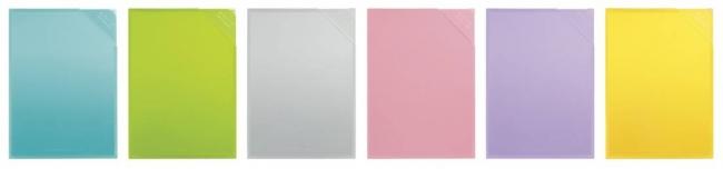 (左から)ライトブルー、ライトグリーン、ライトグレー、ライトピンク、紫、黄