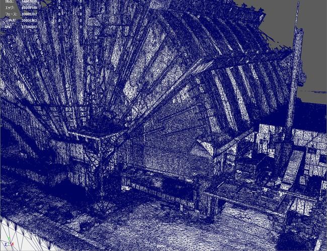 従来は描画出来なかった高精細なフォトグラメトリデータ (旧都城市民会館、3000万ポリゴン)