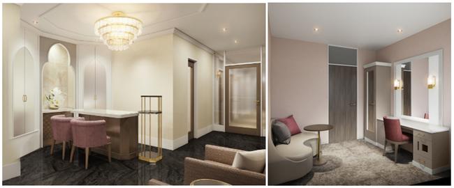 写真左から:エントランスイメージ、プライベートルームイメージ