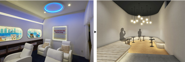 リフレッシュルーム(男性用) 左:旧・グランパーク・イン横浜 → 右:カプセルプラス横浜