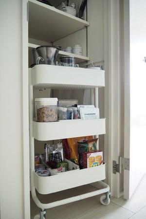 増えた食料品は、IKEAのキャスターつきワゴンに
