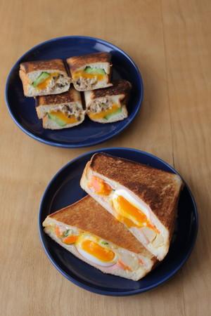 サンドイッチの定番具材「ツナサラダのサンド」&朝食の具材を全部はさんだ「ポテサラとハムと卵のサンド」