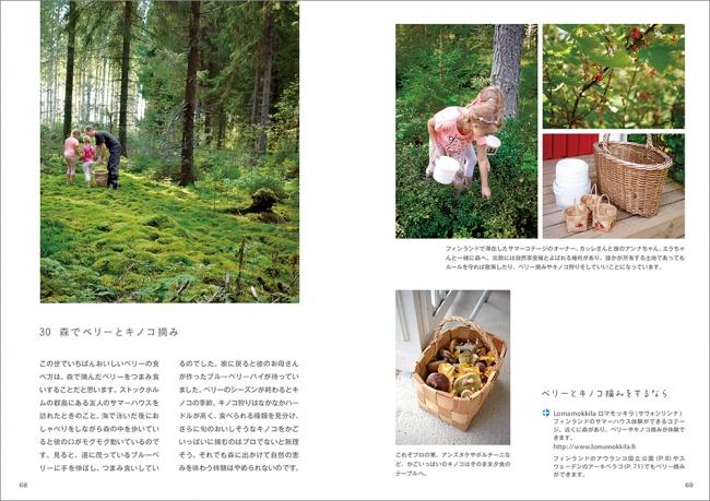 森でベリーとキノコ摘み