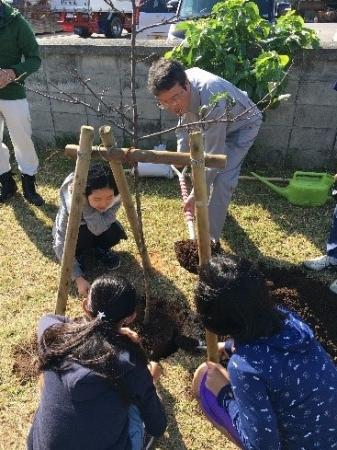 こども達と桜の苗木に土かけする沖縄出光沖縄油槽所 藤 浩和 所長