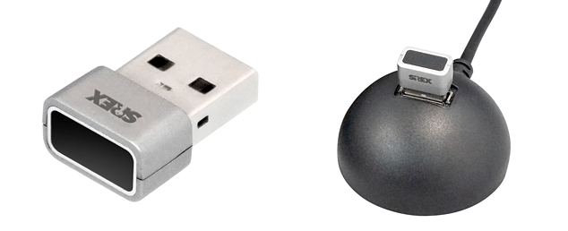 左:SREX-FSU4G(GT)本体、右:SREX-FSU4GT USB延長ケーブル(添付)装着例