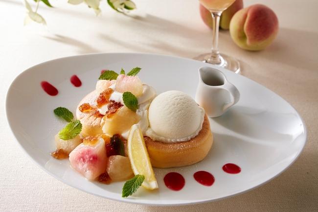 ダージリン香るたっぷり白桃のアイスパンケーキ~モヒート風