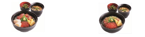 [左]海鮮三種盛り丼セット (味噌汁・漬物付) ¥1,099(税込¥1,186) 〈単品〉¥999(税込¥1,078)[右]ねぎトロいくら丼セット (味噌汁・漬物付) ¥899(税込¥970) 〈単品〉¥799(税込¥862)
