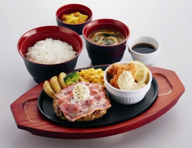 ベーコンバタープレミアムハンバーグ& 広島県産かきフライ定食 ¥899(税込¥988) 単品:¥799(税込¥878)