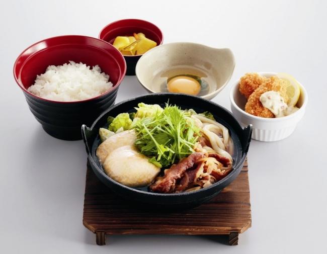 すき焼き鍋&広島県産かきフライ定食 ¥959(税込¥1,054)
