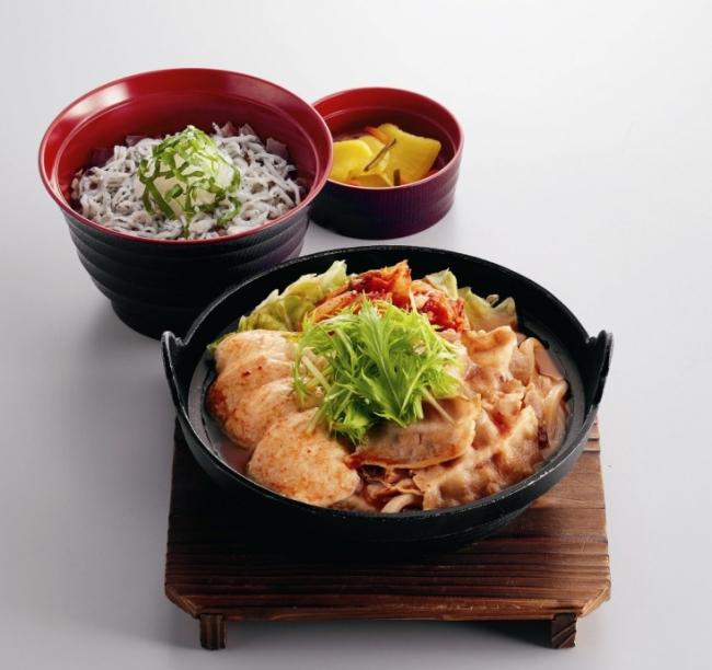 すくい豆冨の味噌チゲと釜揚げしらす丼定食 ¥799(税込¥878) 単品:¥599(税込¥658)