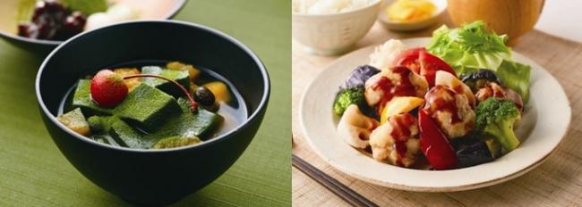 【左】お抹茶香るあんみつ膳 ¥499(税込¥548)【右】彩り野菜と若鶏の黒酢あんかけ定食 ¥699(税込¥768) ※写真はイメージです。