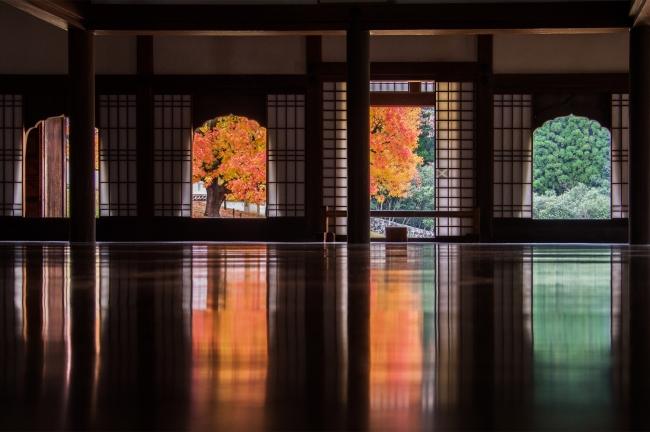 「閑谷の奇跡」 漆塗りの講堂の床に映る3色の光は、まるでさざ波のよう