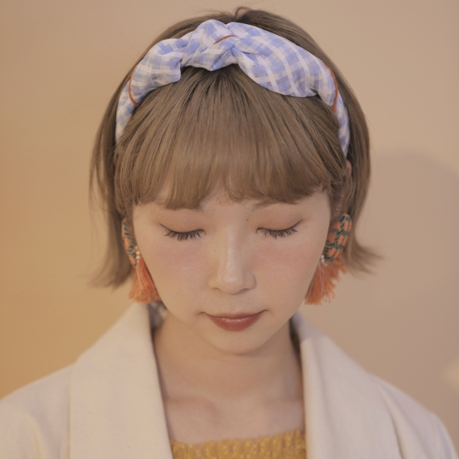 spring gingham check scarf(sax blue、orange)2,700円