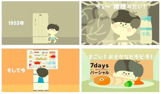 """最新の冷蔵庫に搭載した『7daysパーシャル』に驚く""""ナショナル坊や"""""""