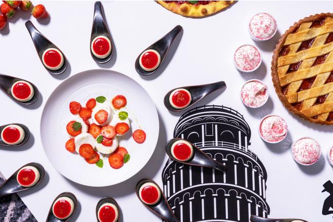 イタリア レモンパンナコッタとストロベリーゼリー&スイートカプレーゼサラダ