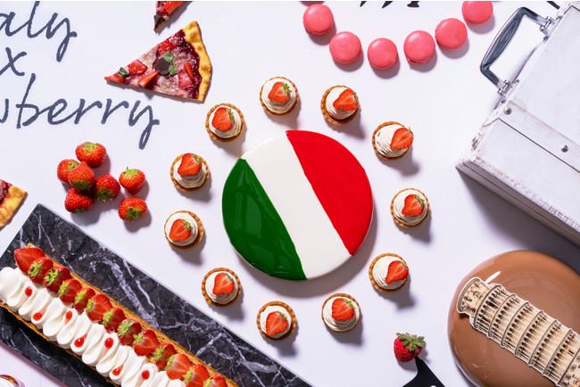 イタリア国旗 ピスタチオとストロベリーケーキ
