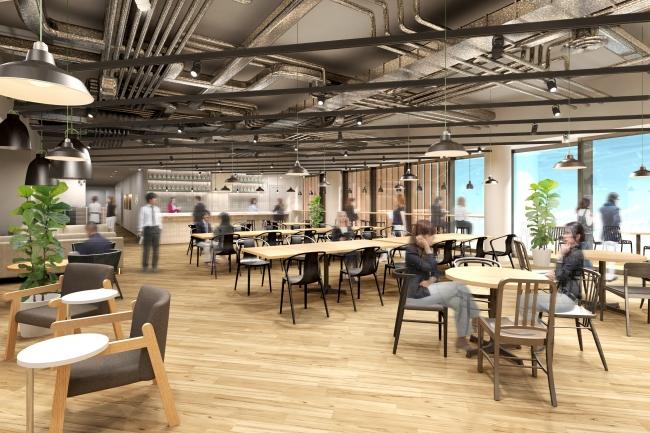 朝食や軽食を提供し、フリーアドレスとして業務にも当たれるカフェスペース