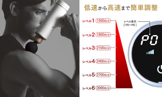 6種類のアタッチメント×6段階振動調整。SYNCA(シンカ)マッスルパーカッションガン