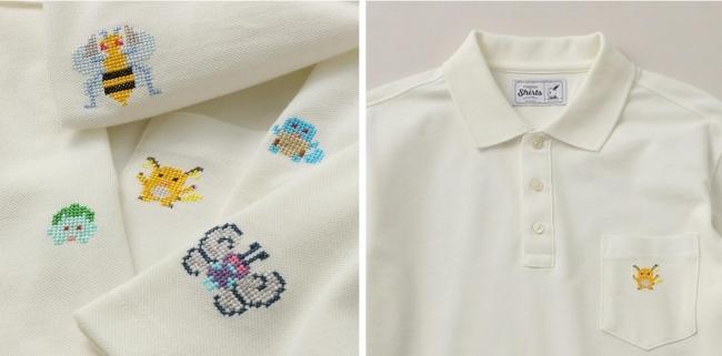 左)ポケモン刺繍5種 右)ライチュウ刺繍(胸ポケット)