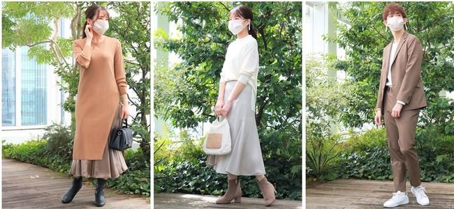 マスクの大きさなど、等身大の着用をイメージ頂くために、ワールドグループの社員がモデルに。 ※コーディネートは「インディヴィ」と「タケオキクチ」の今秋の商品。