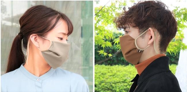 立体シルエットで、口元を包むようなふんわり軽いつけ心地。マスクの縦の長さも調整が可能。
