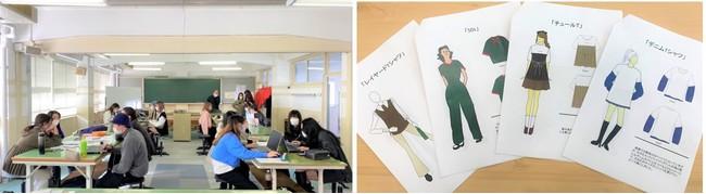 右から)産学連携の授業の様子。 学生が描いたアップサイクルのデザイン画。