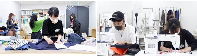 """""""クリエーターズラボ""""で、ワールドプロダクションパートナーズの社員から指導を受けながら縫製。 途中で何度もトルソーに着せ、皆で細かくバランスを見ながら仕立てていきました。"""