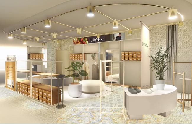 ファッションとライフスタイルを提供する「UNOHA」、ニュウマン横浜ポップアップストアイメージ。ニュウマン横浜 NEWoMan Lab. 3階。