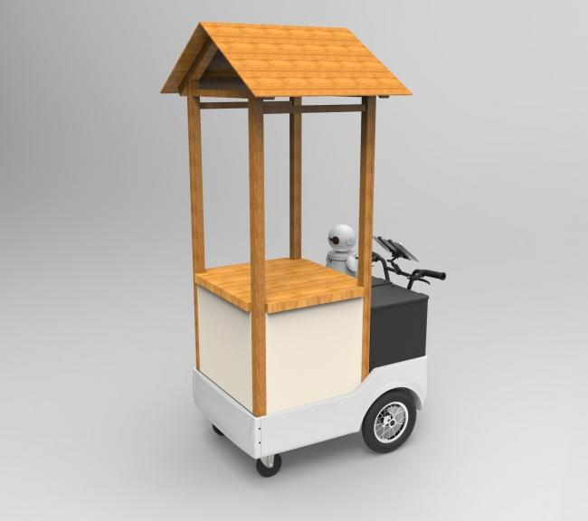 """月で展開中のうさぎがついた餅を使った""""饅頭""""の移動販売で使われているロボットカート。"""