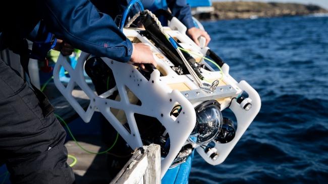 人の手で水中に投入し、水深300mまでの潜航が可能な本格ROV