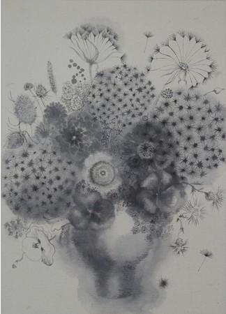 染谷悠子《キヨシさんのブーケ》2020年/パネルにカンヴァス、和紙、墨 (C)Yuko Someya, Courtesy of Tomio Koyama Gallery/Koyama Art Projects.