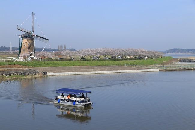 印旛沼湖上をゆったり走る観光船