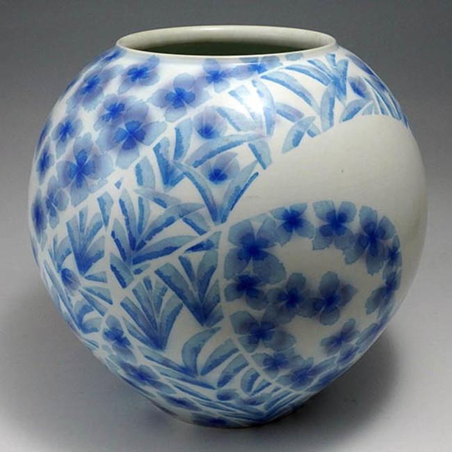 第40回日本伝統工芸展出品作(《葆光布染壺》1993年、個人蔵)