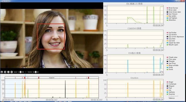 「心sensor」で動画分析後のビューア画面