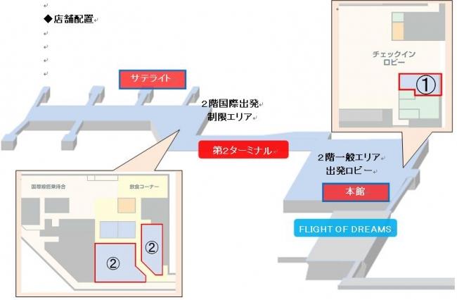 第2ターミナル館内地図 1.はおみやげ館 2.は免税店