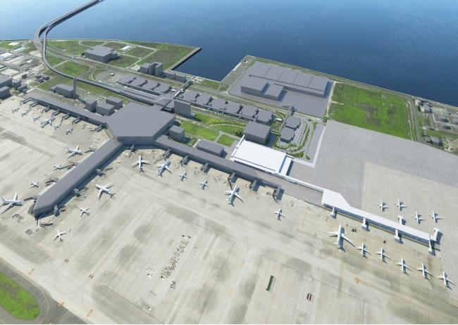 2019年度上期開業を目指す新旅客ターミナルビル俯瞰イメージ