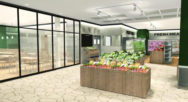 入り口付近の生鮮食品コーナー(イメージ図)