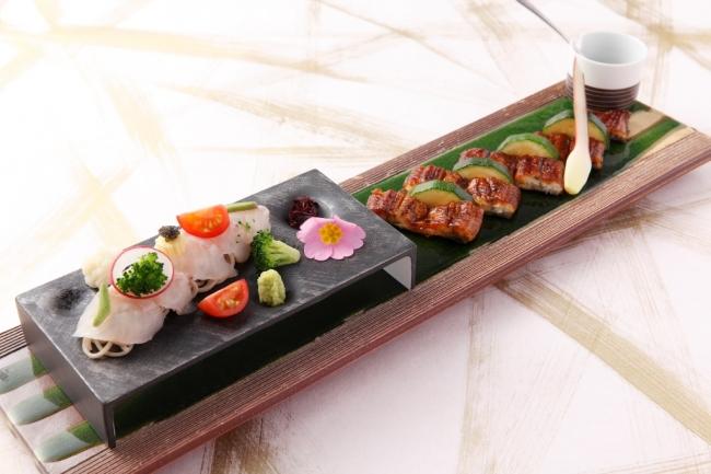 鰻蒲焼白身魚のそばカルパッチョ