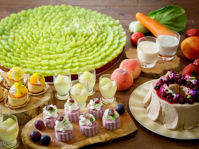 野菜とフルーツを使用したデザート