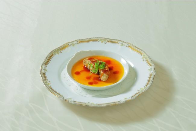 埼玉県産野菜のブリュレ フォアグラ添え はつかり醤油のソース