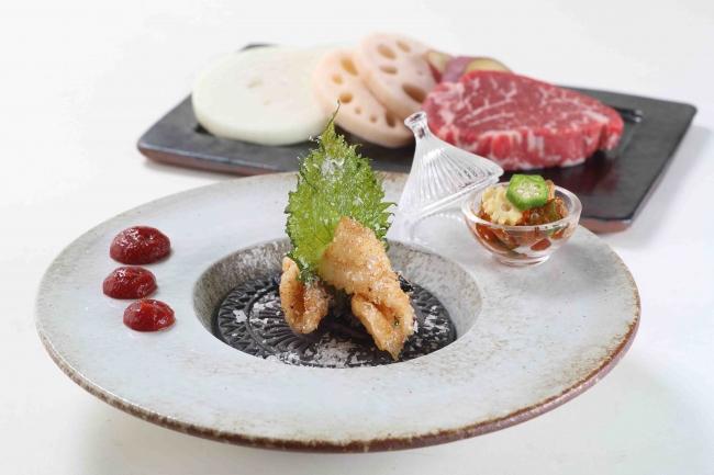 淡路島産鱚の洋風天ぷら 兵庫県産梅のソースで