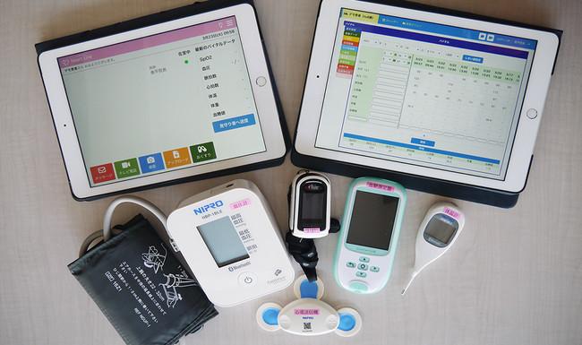 今回運搬したニプロ株式会社製の「ニプロハートラインTM」。遠隔診療を実現するためのソリューションであり、タブレットで医師と通話しながら、同梱の体温計や血圧計で体調を診断することが出来る。