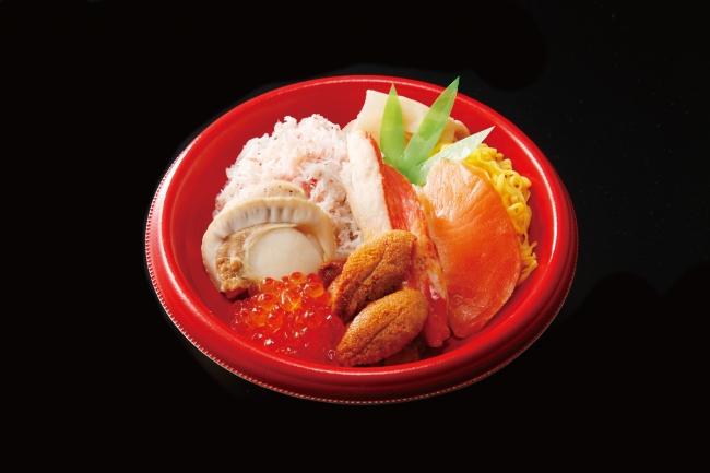 <札幌 かに家>海鮮五味ちらし丼 税込980円 370kcal  カニ・いくら・うに・ホタテ・サーモンの美味しさがつまってます。