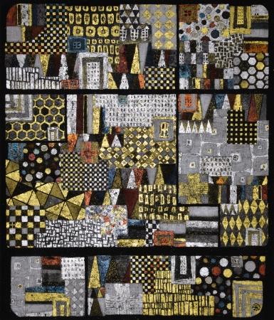 野口琢郎「Landscape#42」53.0×45.5cm 木パネル、漆、金、銀、プラチナ箔、石炭、樹脂、アクリル絵具