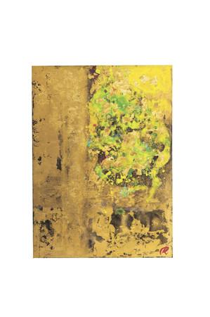 裕人 礫翔「花ふき間近の歓び」 58.0×42.5cm、本金箔、銀箔、木