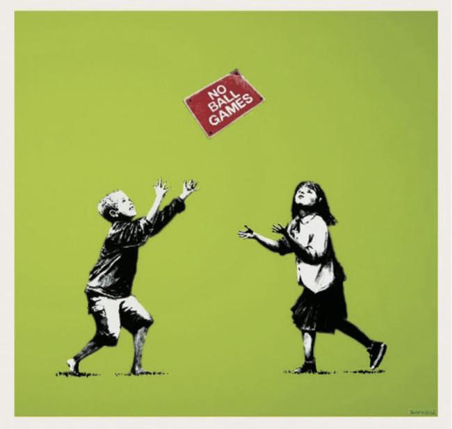 Banksy「No Ball Games(Green)」 67.0×70.0cm、2009年、シルクスクリーン ed.250 サイン入り