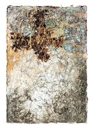 裕人 礫翔「大樹の華やぎ Angel」 98.0×67.0cm、和紙、本金箔、プラチナ箔、銀箔