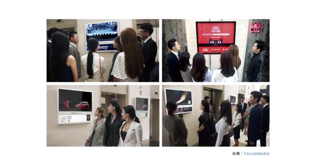 中国におけるエレベーター広告の様子